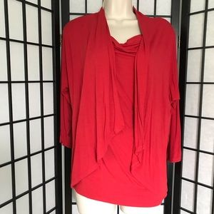 Evan-Picone Red Open Blouse with attached tank